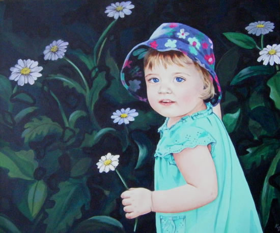 Child Portrait - Caitlin - Kerry Regan - Artist Painting in Acrylic and Other Media - Surrey Art Gallery