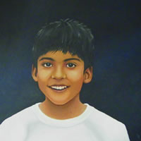 Portraits – Child Portrait Painting Commissions – Rahul & Rohit – 2 – Kerry Regan – Artist Painting in Acrylic and Other Media – Surrey Art Gallery