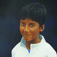 Portraits – Child Portrait Painting Commissions – Rahul & Rohit – Kerry Regan – Artist Painting in Acrylic and Other Media – Surrey Art Gallery