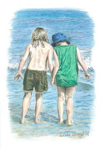 Children on Beach - Searching - Surrey Artist - Linda Brand UKCPS - Gallery - Pencil Artist