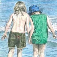 Children on Beach – Searching – Surrey Artist – Linda Brand UKCPS – Gallery – Pencil Artist