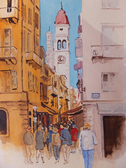 Corfu - Shopping Lanes in Kerkyra - Woking Society of Arts - David Harmer - Surrey Artist