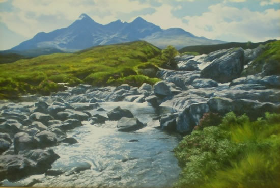 Cuillin from Sligachan, Isle of Skye - David Deamer - Artist in Oils and Pencil Portraits - Surrey Art Gallery - Pirbright Art Club - Woking Society of Arts