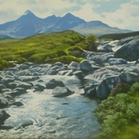 Cuillin from Sligachan, Isle of Skye – David Deamer – Artist in Oils and Pencil Portraits – Surrey Art Gallery – Pirbright Art Club – Woking Society of Arts