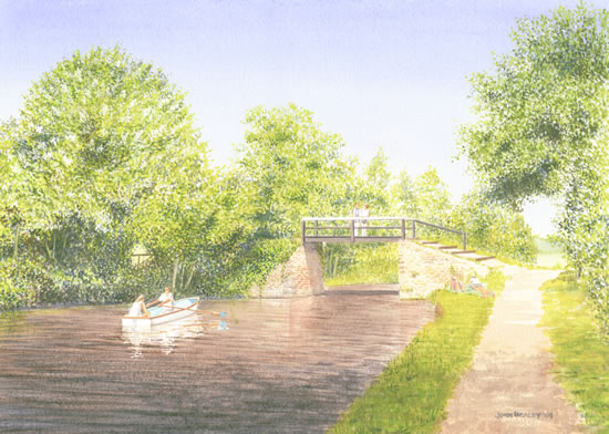 Dodds Bridge Pyrford - Wey Navigation Canal - Surrey Art Gallery - Artist John Healey - Woking Society of Arts