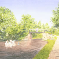 Dodds Bridge Pyrford – Wey Navigation Canal – Surrey Art Gallery – Artist John Healey – Woking Society of Arts