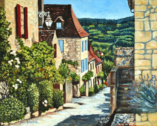 Dordogne, Late Afternoon In Domme - France Art Gallery - Jane Atherfold - Sunningdale Art Society
