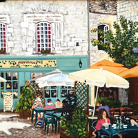 Dordogne Martell Village Square – France Art Gallery – Oil Painting by Weybridge Surrey Artist Jane Atherfold