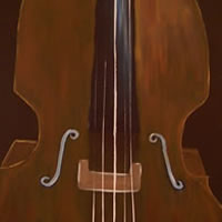 Double Bass – Surrey Artist – Michael Palmer + Paintings in Acrylics & Mixed Media – Surrey Art Gallery
