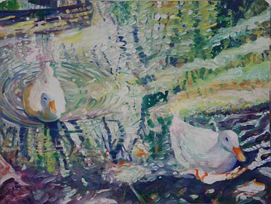 Ducks at Hartley Wintney - Hampshire Artist Nicholas Walsh - Fine Artist and Art Tutor