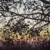 Dusk through Tree – Kerry Regan – Artist Painting in Acrylic and Other Media – Surrey Art Gallery