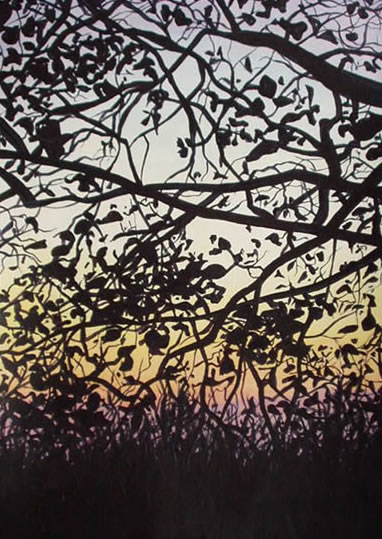 Dusk through Trees 1 - Kerry Regan - Artist Painting in Acrylic and Other Media - Surrey Art Gallery