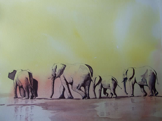 Elephants - Waiting for Rain - Animals Art Gallery - David Harmer - Surrey Artist