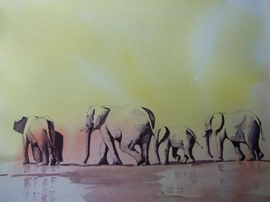 Elephants - Waiting for Rain - Animals Art Gallery - David Harmer - Surrey Artist
