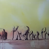 Elephants – Waiting for Rain – Animals Art Gallery – David Harmer – Surrey Artist