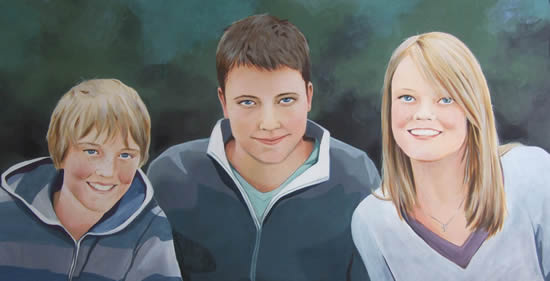 Family Portrait - Davisons- Kerry Regan - Artist Painting in Acrylic and Other Media - Surrey Art Gallery