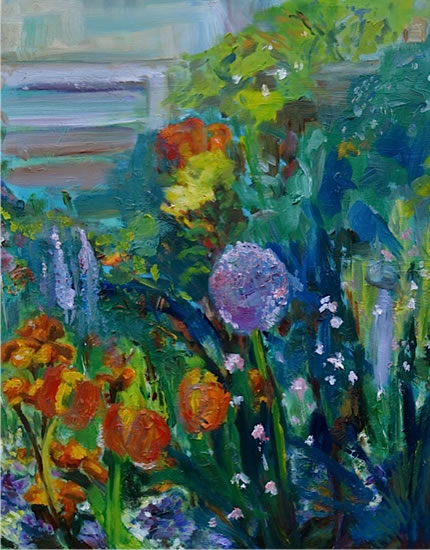 Flower Garden - Stephen Kinder - Godalming Artist - Farnham Arts Society - Surrey Art Gallery
