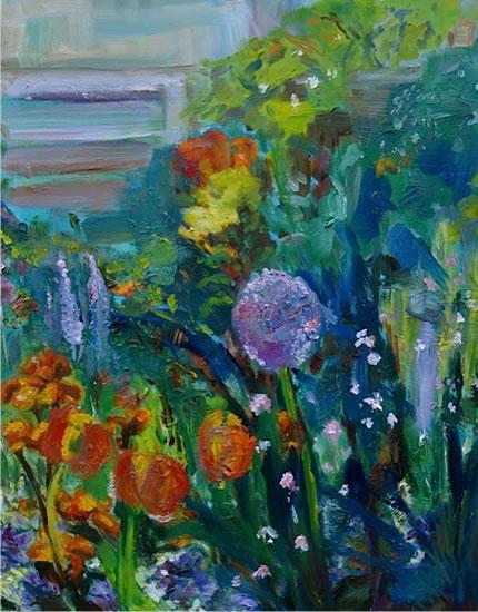 Flower Garden - Stephen Kinder - Godalming Artist - Farnham Arts Society - Surrey Art Gallery