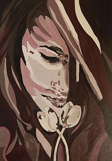 Girl with Tulips - Alpul - Contemporary Art Gallery - London Artist Elaine Pigeon