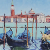 Gondolas and San Giorgio Maggiore Venice Oil Painting – Italy Art Series – Painting by Guildford Art Society Member Jane Atherfold