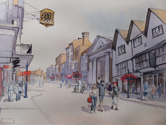 Guildford High Street - Pirbright Art Club - Watercolour Gallery - Surrey Artist David Harmer