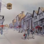 Guildford High Street – Pirbright Art Club – Watercolour Gallery – Surrey Artist David Harmer