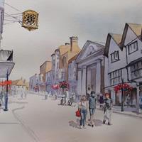 Guildford High Street – Pirbright Art Club – Watercolour Gallery – Surrey Artist David Harmer