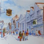 Guildford High Street and Clock – Christmas Shopping – Surrey Scenes Art Gallery