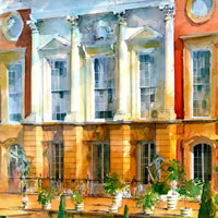 Hampton Court Palace – John Walsom – Contemporary and Architectural Artist – Buildings and Interiors in Oils, Acrylics and Watercolours – Surrey Art Gallery
