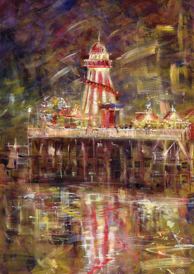 Helter Skelter Time, Bournemouth Pier - Hampshire Gallery - Farnham Surrey Artist Michael Walsh - Society of Graphic Fine Art