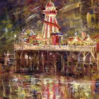 Helter Skelter Time, Bournemouth Pier – Hampshire Gallery – Farnham Surrey Artist Michael Walsh – Society of Graphic Fine Art