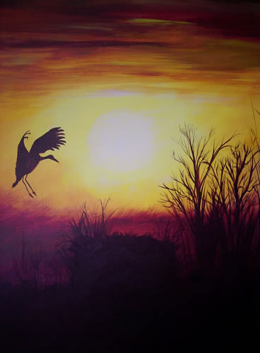Heron in Flight - Home At Last - Surrey Artist - Michael Palmer + Paintings in Acrylics & Mixed Media - Surrey Art Gallery