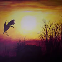 Heron in Flight – Home At Last – Surrey Artist – Michael Palmer + Paintings in Acrylics & Mixed Media – Surrey Art Gallery