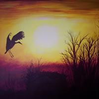 Heron in Flight – Home At Last – Surrey Artist – Michael Palmer + Paintings in Acrylics & Mixed Media – Surrey Art Gallery