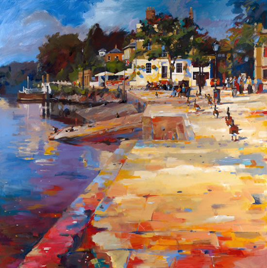 High Summer, Richmond - John Walsom - Contemporary and Architectural Artist - Buildings and Interiors in Oils and Watercolours - Surrey Art Gallery