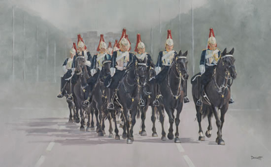 Horse Riding - Household Cavalry in the Mall, Buckingham Palace, London - Surrey Artist - Mark Dorsett - Gallery