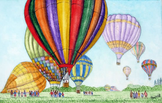 Hot Air Balloons - Surrey Art Gallery - Artist John Bunce - Woking Society of Arts