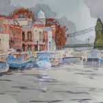 Houseboats by Hammersmith Bridge – London Art Gallery – David Harmer – Surrey Artist