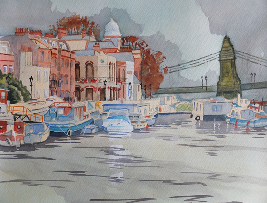 Houseboats by Hammersmith Bridge - London Art Gallery - David Harmer - Surrey Artist