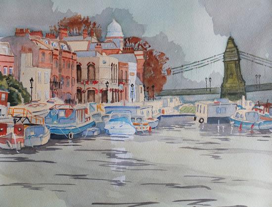 Houseboats by Hammersmith Bridge - London Art Gallery - David Harmer - Surrey Artist