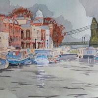 Houseboats by Hammersmith Bridge