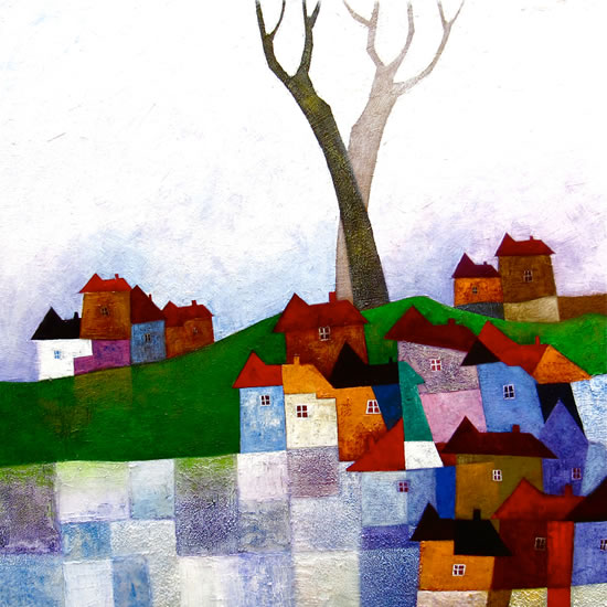 Houses - Surrey Artist - Sunita Khedekar - Contemporary Landscapes, Abstract Art and Indian Mythological and Traditional Paintings