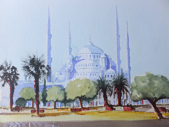Istanbul Blue Mosque - Pirbright Art Club - Watercolour Gallery - Surrey Artist David Harmer