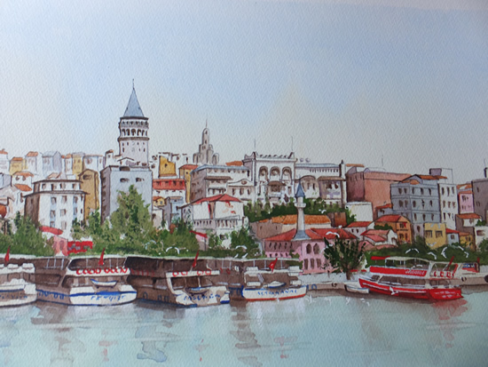 Istanbul, Bosphorus Waterfront - Woking Society of Arts - David Harmer - Surrey Artist