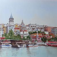 Istanbul, Bosphorus Waterfront – Woking Society of Arts – David Harmer – Surrey Artist