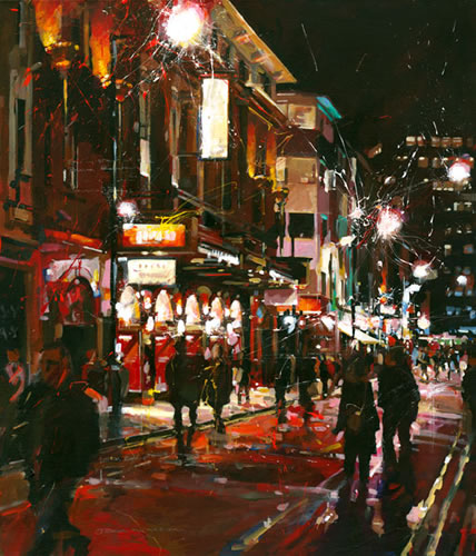 Jersey Boys at The Prince Edward Theatre - John Walsom - Contemporary and Architectural Artist - Buildings and Interiors in Oils and Watercolours - Surrey Art Gallery