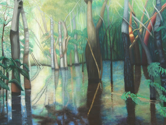 Jungle - In The Selva - Romy Rey - Artist Painting Landscapes, Dreamscapes, Geometrics, Ancient and Tribal - Surrey Art Gallery