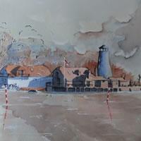 Langstone Mill, near Hayling Island – Pirbright Art Club – Watercolour Gallery – Surrey Artist David Harmer