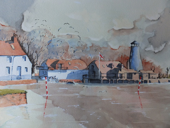 Langstone Mill, near Hayling Island - Pirbright Art Club - Watercolour Gallery - Surrey Artist David Harmer
