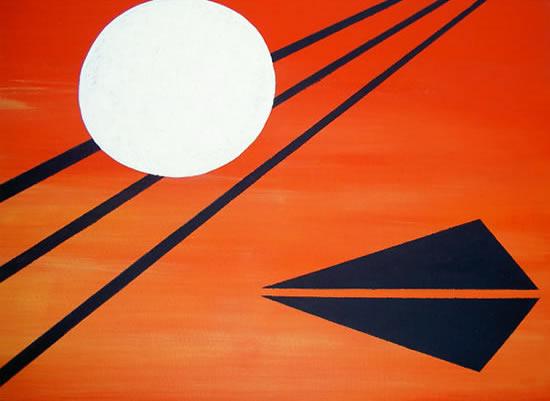 Last Frontier Moon - Peter Camden-Woodley - Contemporary Weybridge Artist - Acrylics and Metal Sculpture - Surrey Art Gallery
